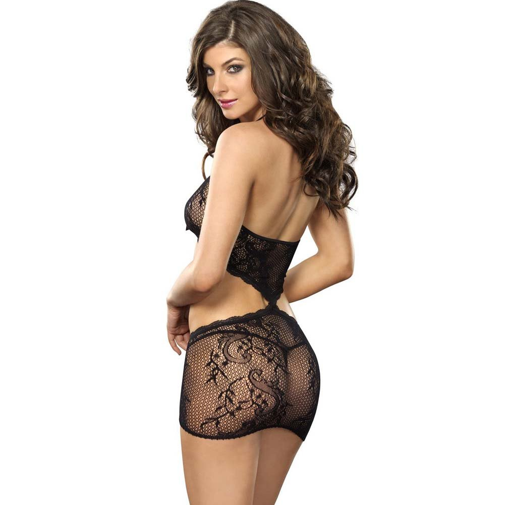 Leg Avenue Stretch Lace Illusion Chemise One Size Black - View #2