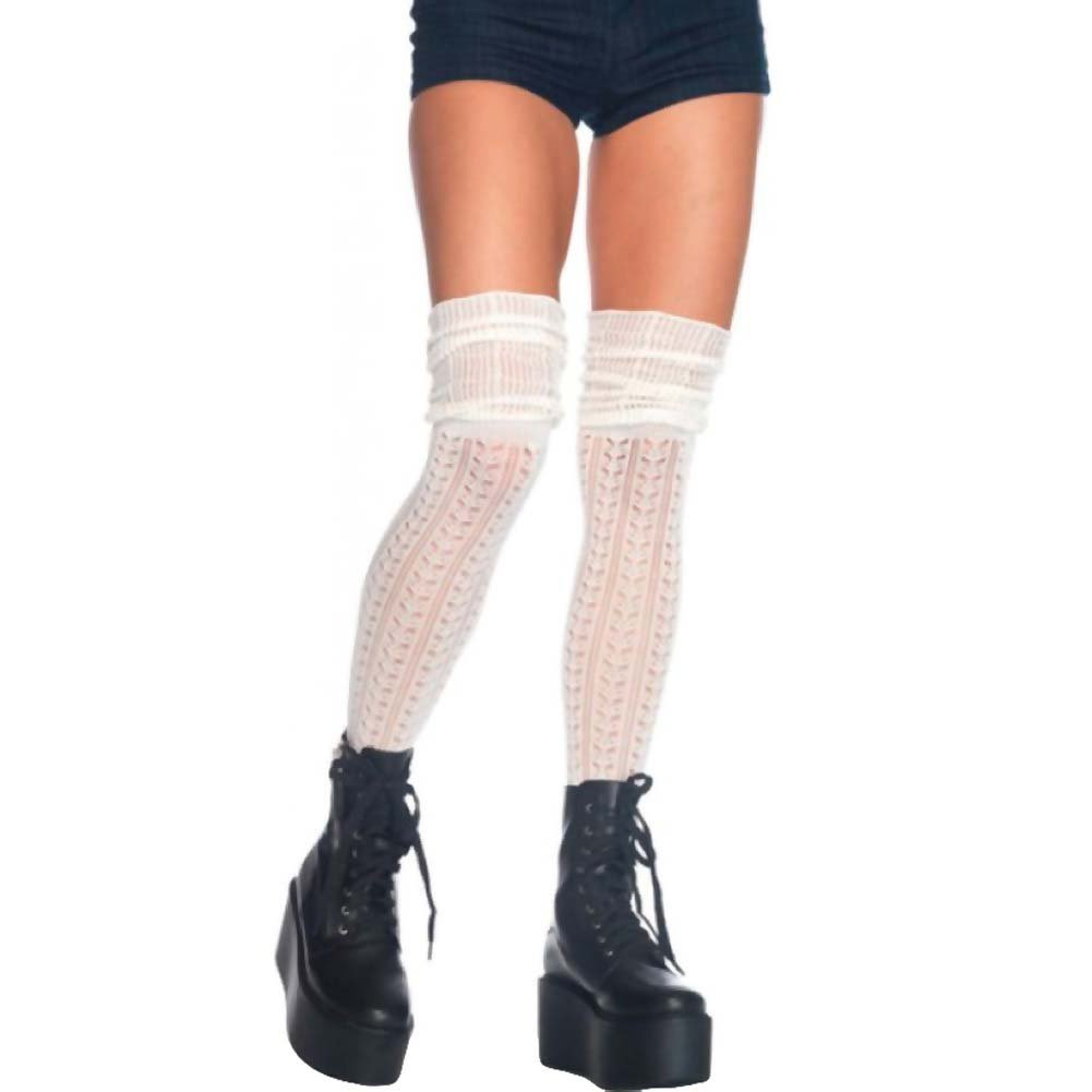Leg Avenue Acrylic Pointelle Over-the-Knee Scrunch Socks One Size Ivory - View #1