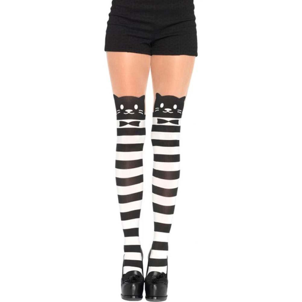 Leg Avenue Fancy Cat Striped Pantyhose One Size Black/White - View #1