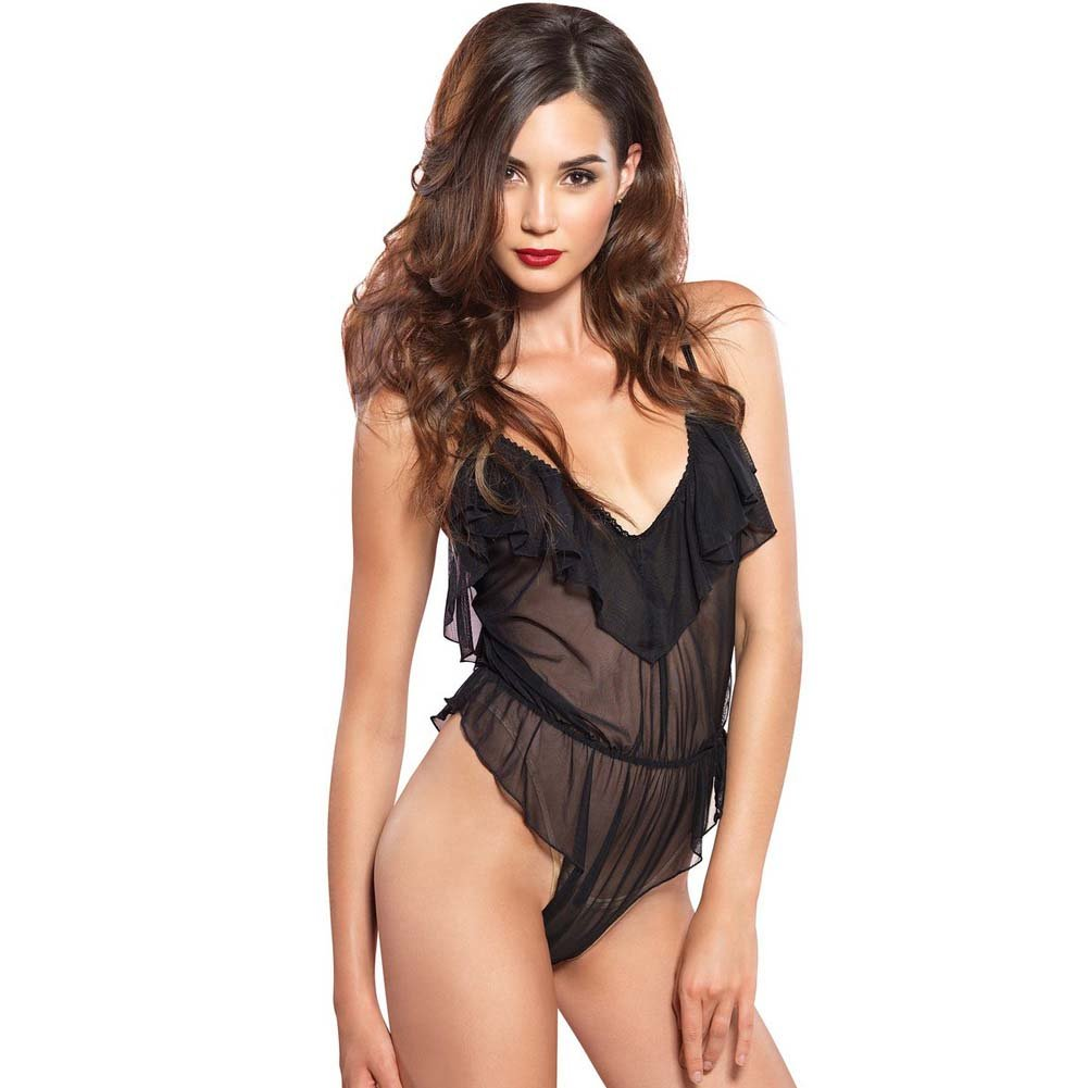 Leg Avenue Flutter Ruffle Teddy with Brazilian Back Small/Medium Black - View #1