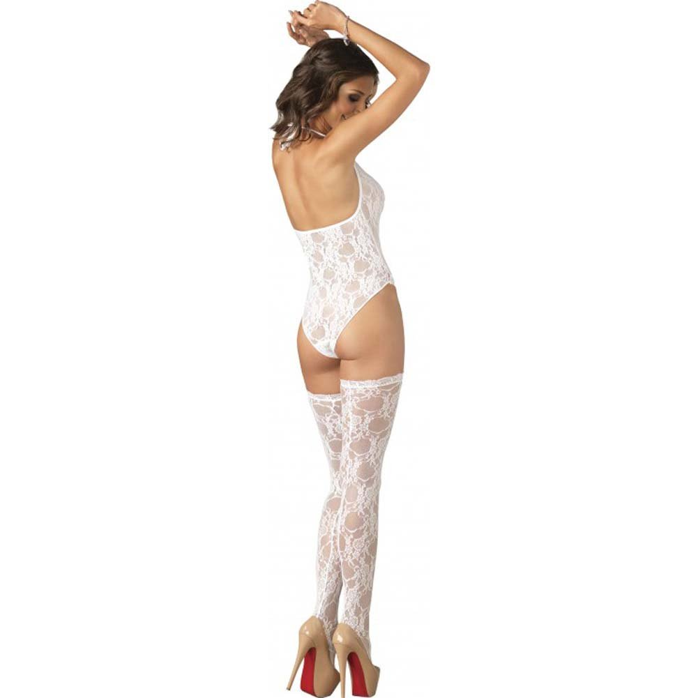 Leg Avenue 2 Piece Floral Deep-V Teddy and Stockings One Size White - View #2
