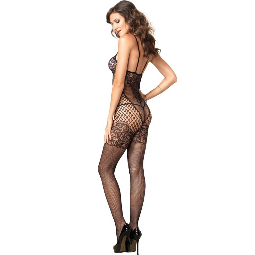 Leg Avenue Dual Net Bodystocking with Lace Bodice One Size Black - View #2