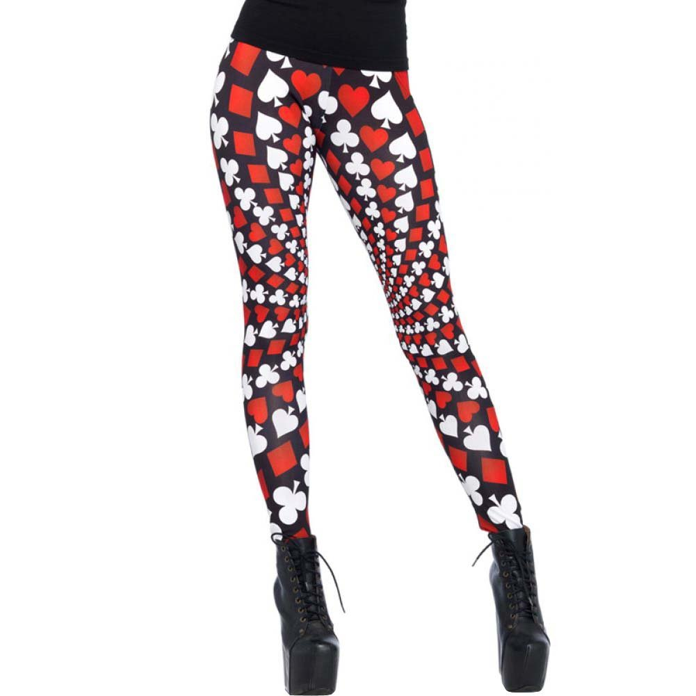 Leg Avenue Totally Trippy Psychadelic Leggings Medium Red/White Black - View #1