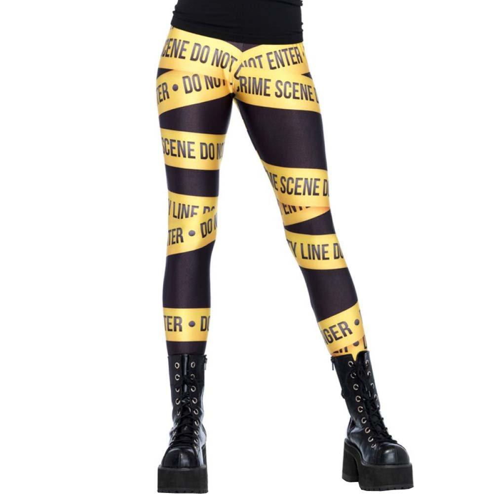 Leg Avenue Crime Scene Tape Print Leggings Small Black/Yellow - View #1