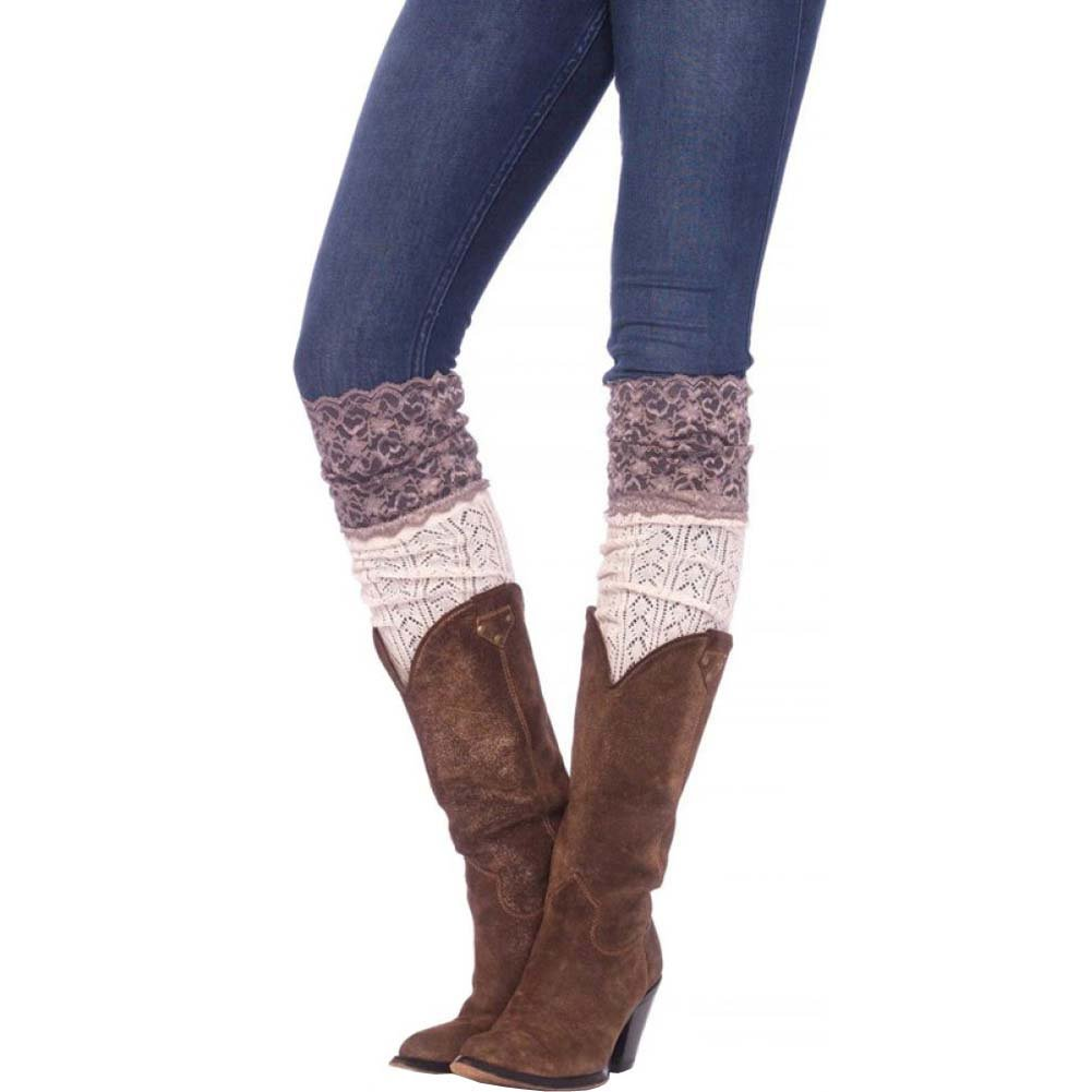 Leg Avenue Crochet Over the Knee Slouch Socks with Lace One Size Ivory - View #1