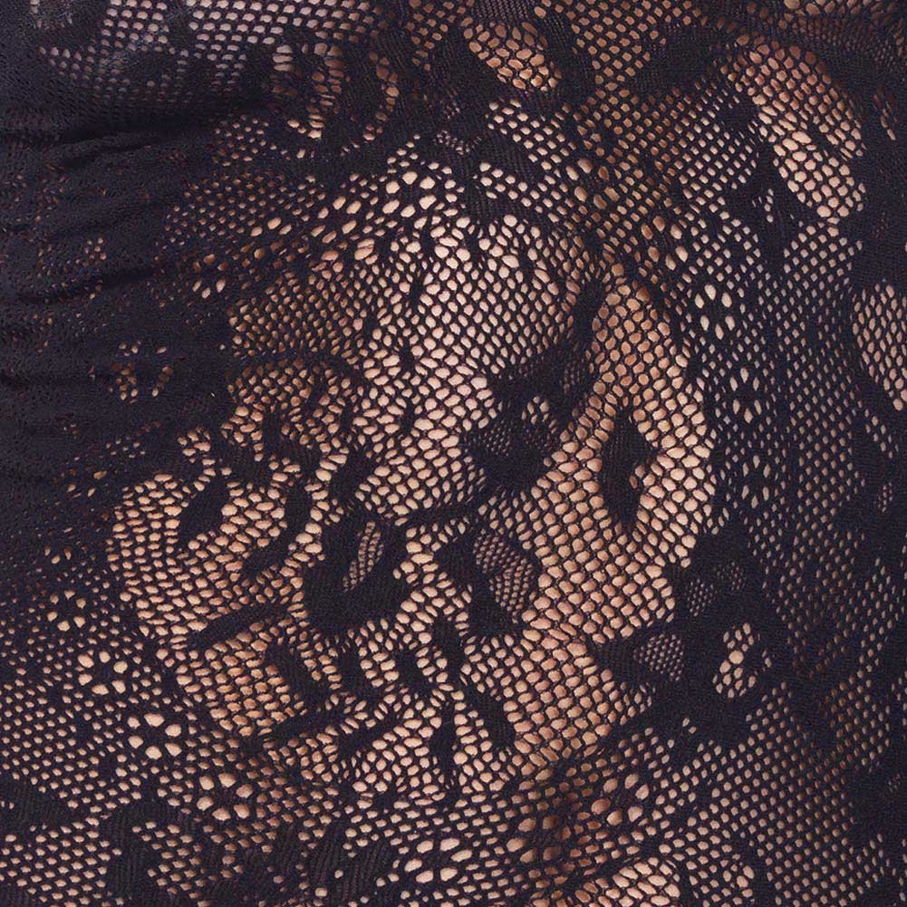 Leg Avenue Sexy Floral Lace Top with Three Quarter Length Sleeve One Size Black - View #2