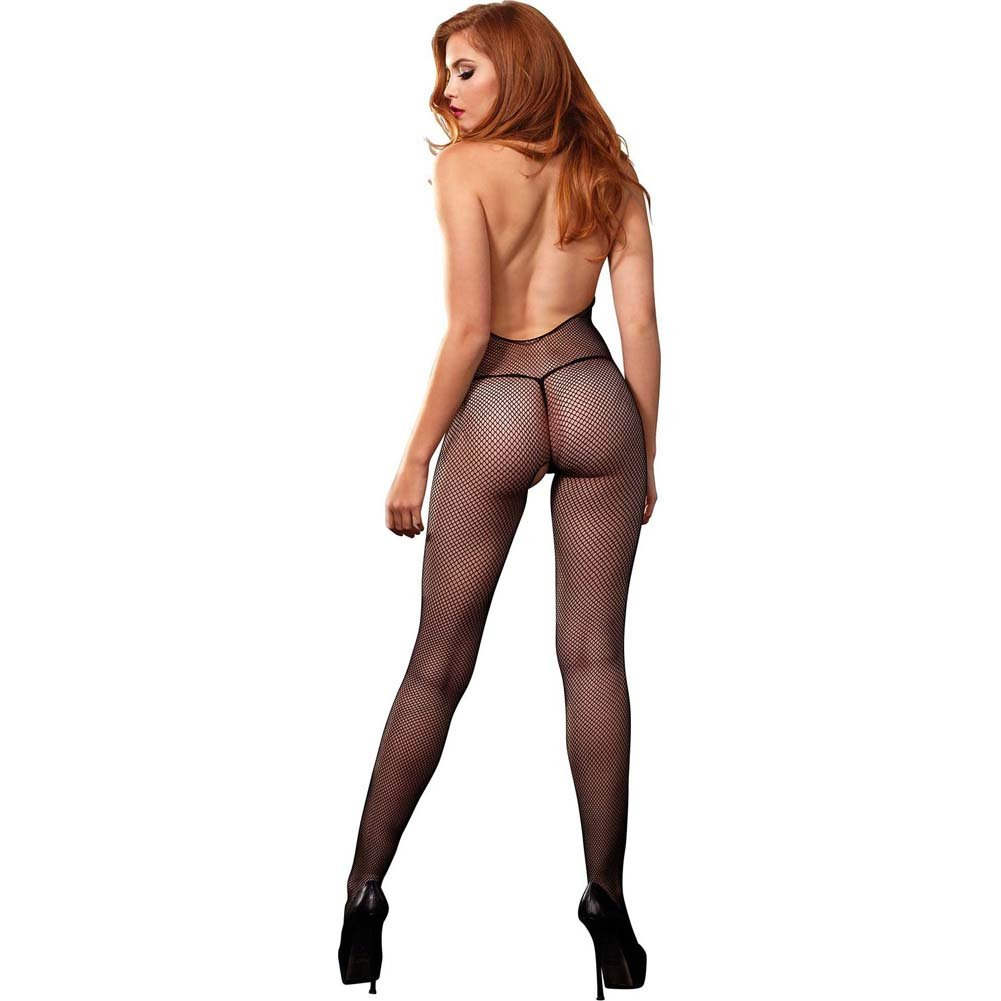 Leg Avenue Fishnet Halter Bodystocking .Lace Deep-V Front and Open Back One Size Black - View #2