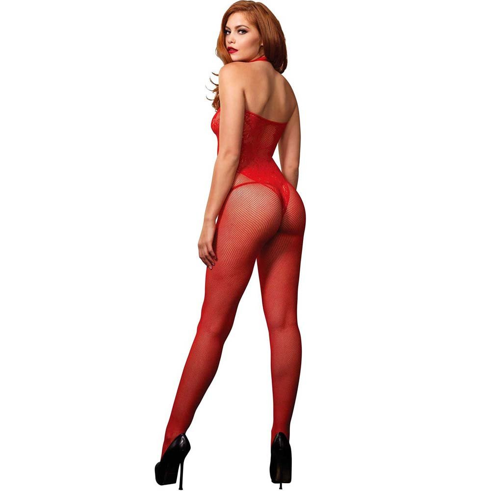 Leg Avenue Fishnet Halter Bodystocking with Floral Lace Hourglass Detail One Size Red - View #2