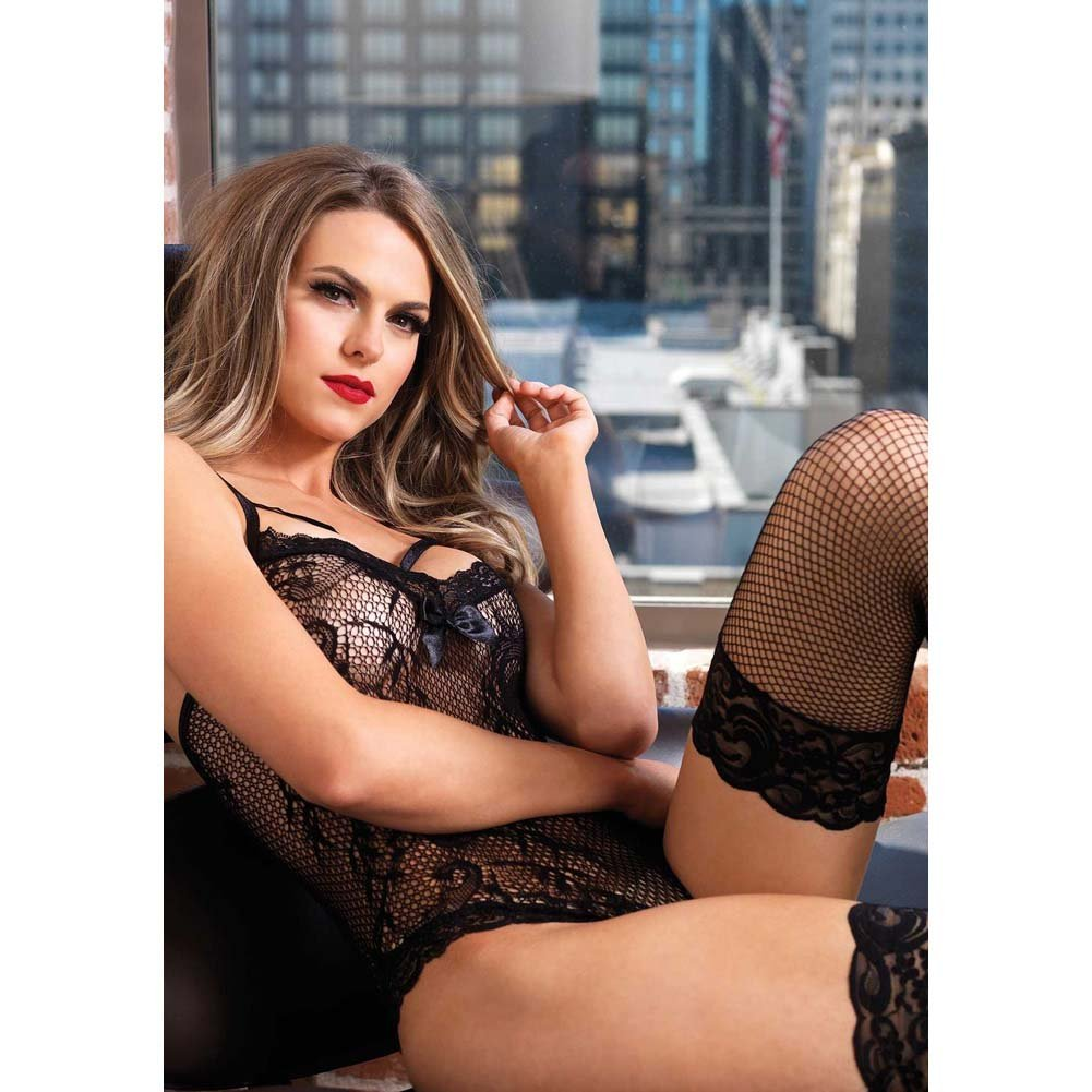 Leg Avenue Stretch Lace Cage Strap Thong Teddy with Back Straps One Size Black - View #3