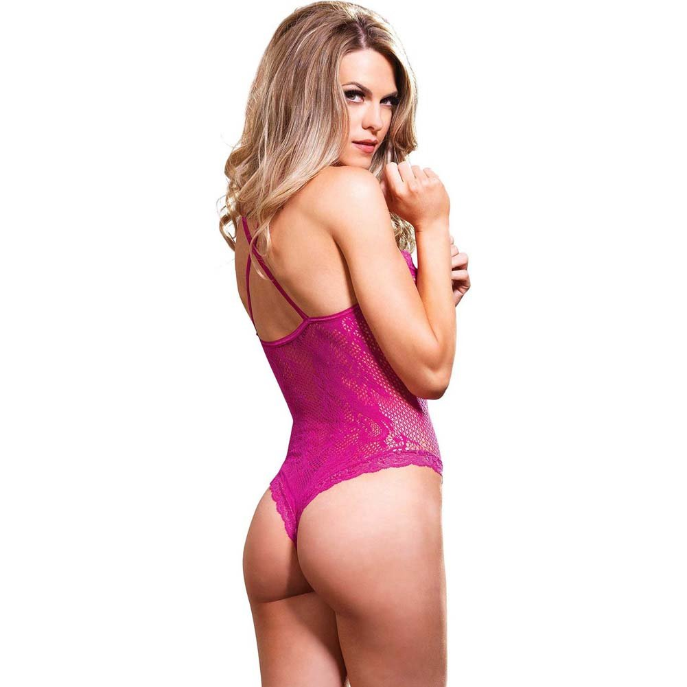 Leg Avenue Stretch Lace Cage Strap Thong Teddy with Back Straps One Size Hot Pink - View #2