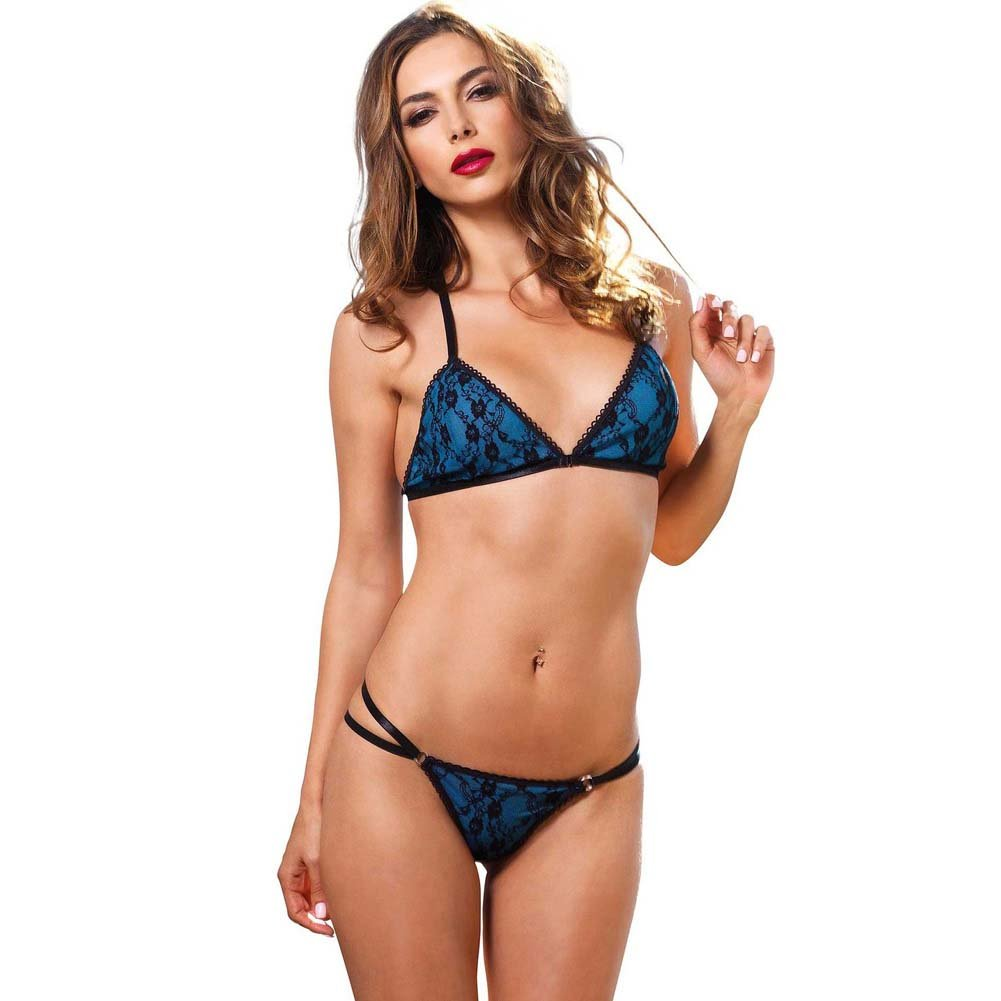 Leg Avenue 2 Piece Strappy Bikini Bra Top with Lace and Matching Panty Small/Medium Blue - View #1