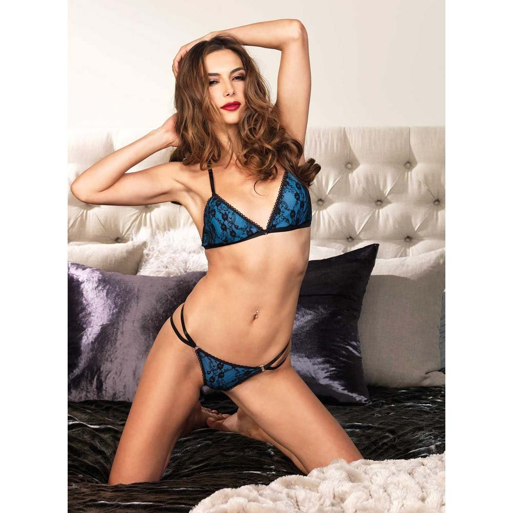 Leg Avenue 2 Piece Strappy Bikini Bra Top with Lace and Matching Panty Small/Medium Blue - View #3