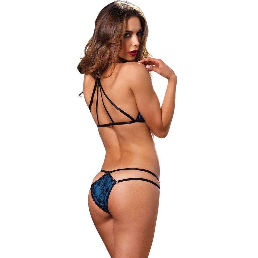 Leg Avenue 2 Piece Strappy Bikini Bra Top with Lace and Matching Panty Medium/Large Blue - View #2