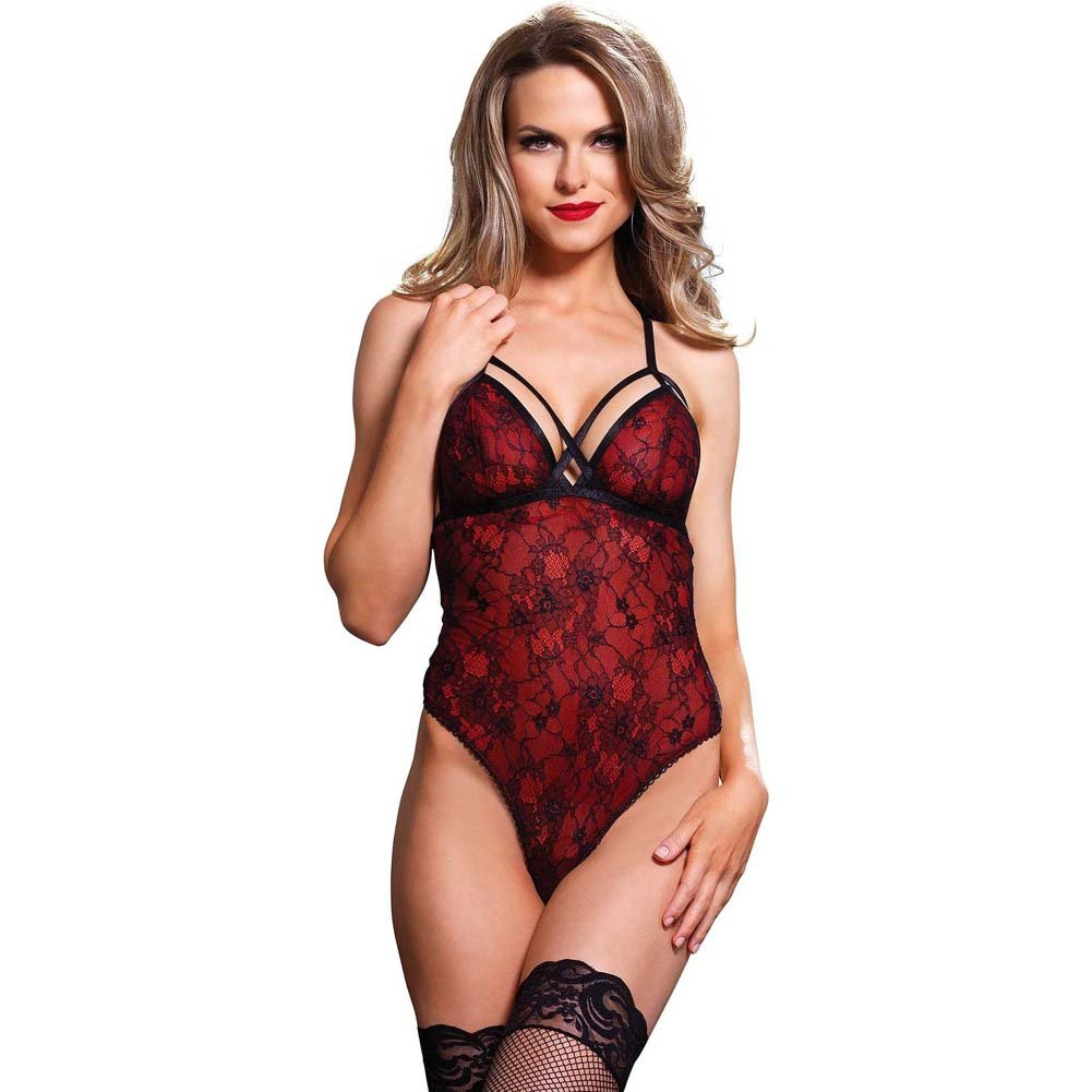 Leg Avenue Cage Strap G-String Teddy with Floral Lace Overlay Small/Medium Red - View #1