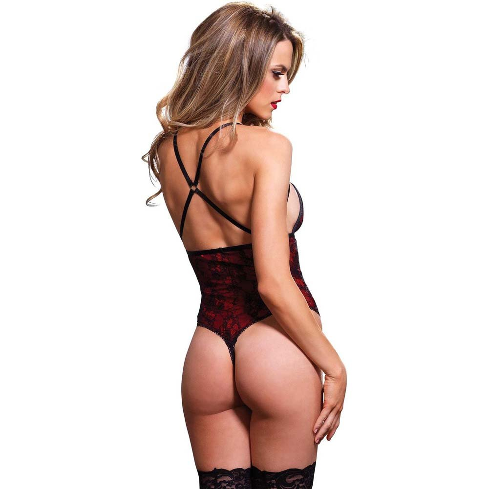 Leg Avenue Cage Strap G-String Teddy with Floral Lace Overlay Medium/Large Red - View #2
