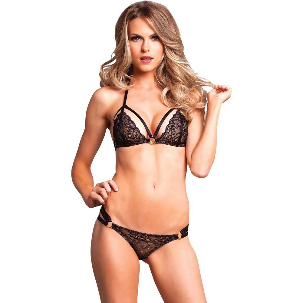 Leg Avenue 2 Piece Lace Cage Strap Bikini Top Matching Strappy Panty Medium/Large Black - View #1