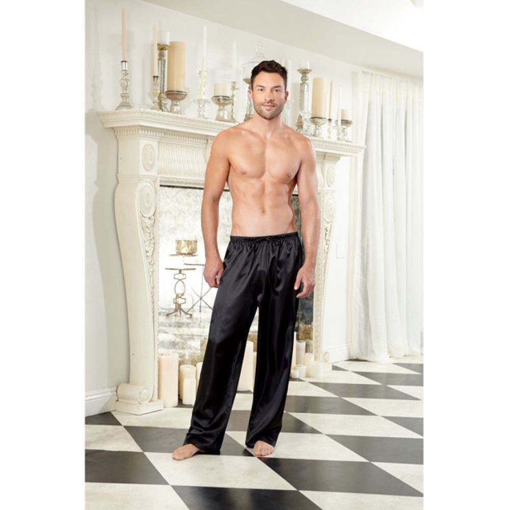 Dreamgirl Lingerie Charmeuse Pajama Pants with Drawstring Extra Large Black - View #3