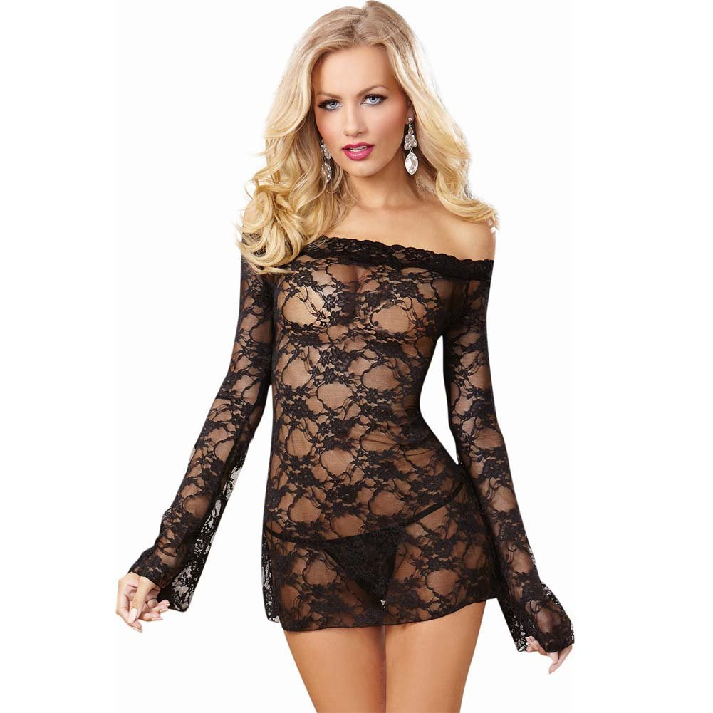 Dreamgirl Lingerie Stretch Lace Off-Shoulder Chemise Small Black - View #1