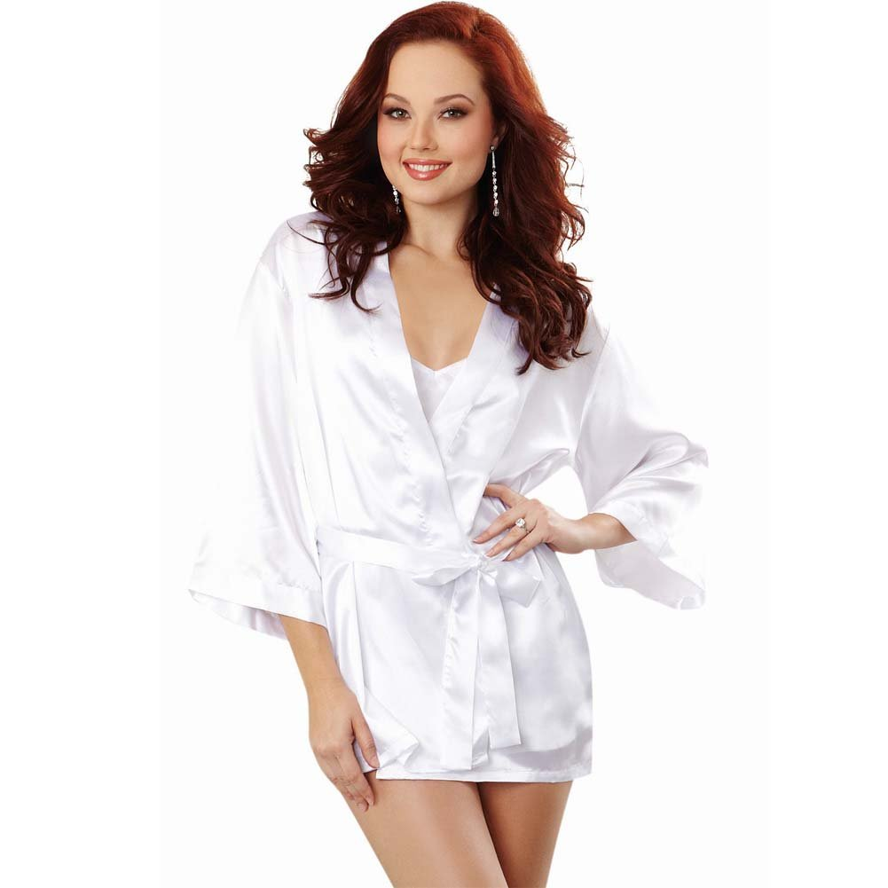 Dreamgirl Lingerie Nuptial Bride Charmeuse Robe and Babydoll Large White - View #1
