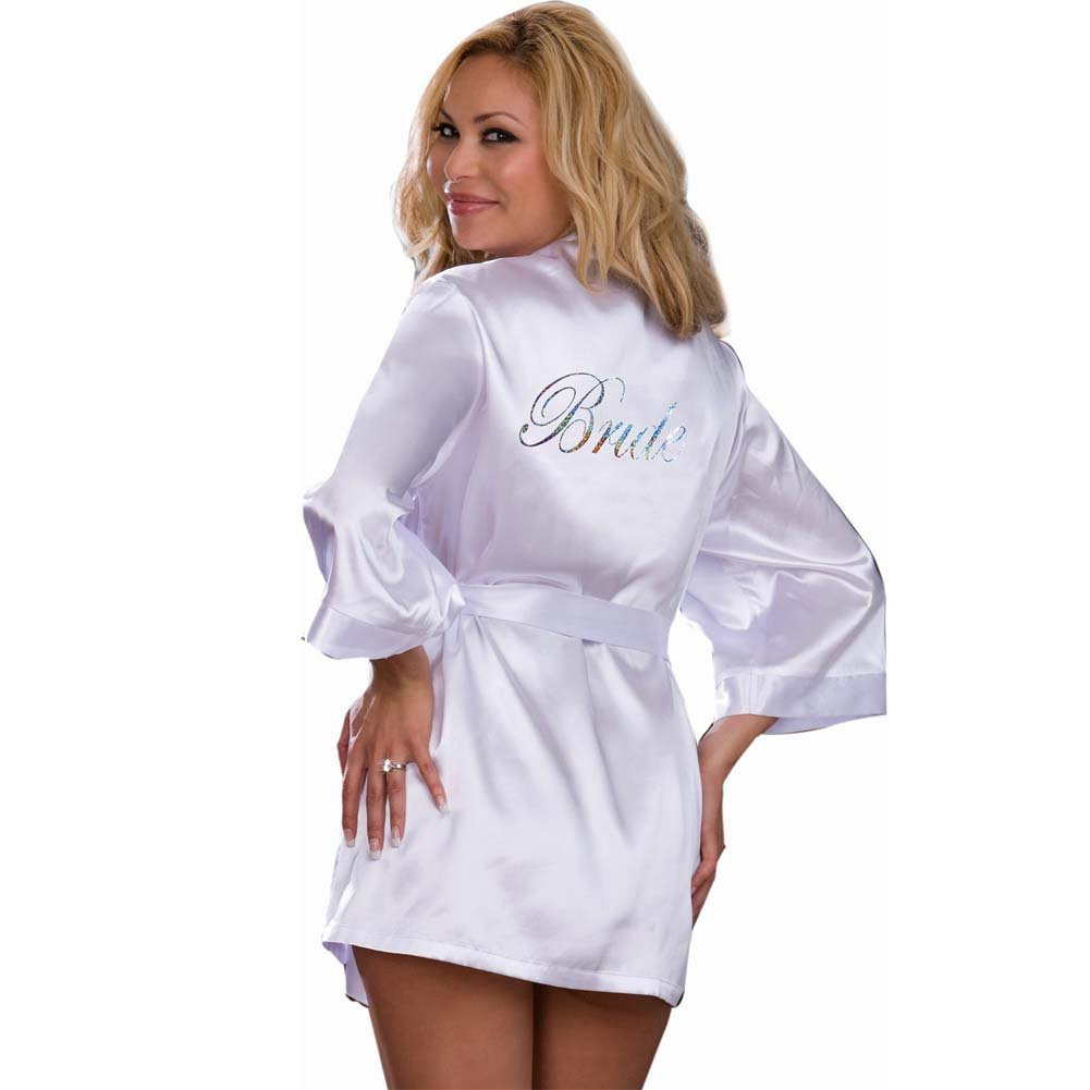 Dreamgirl Nuptial Bride Charmeuse Robe and Babydoll 1X/2X White - View #2