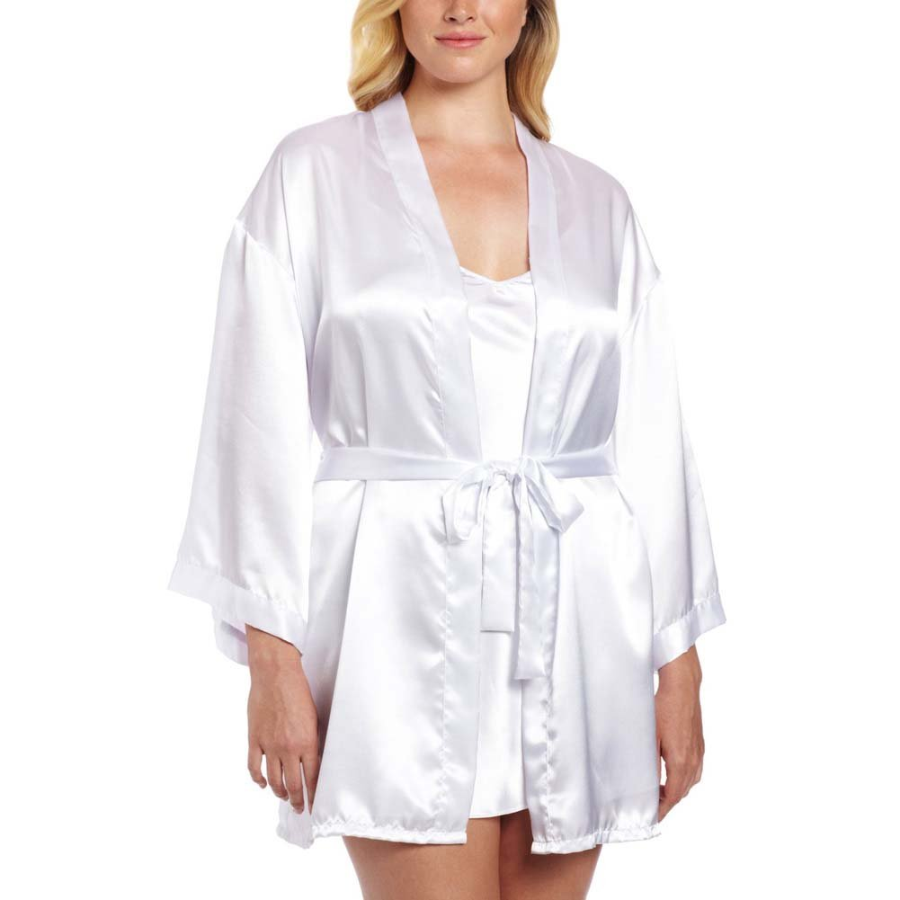 Dreamgirl Nuptial Bride Charmeuse Robe and Babydoll 3X/4X White - View #1
