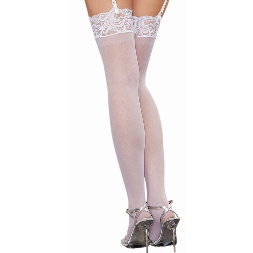 Dreamgirl Lingerie Sheer Thigh High with Lace Top One Size White - View #2