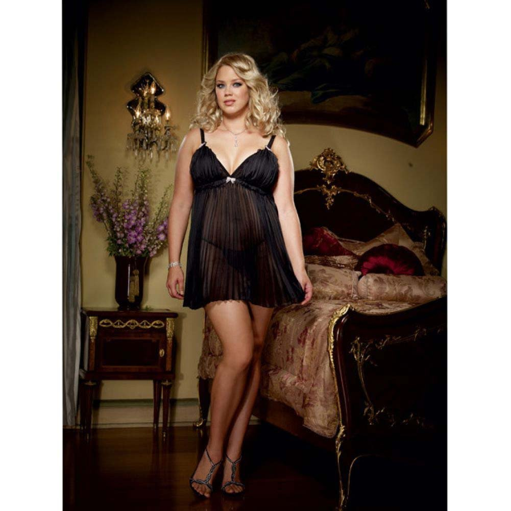 Dreamgirl Lingeire Pleated Chiffon Babydoll and Thong 3X/4X Black - View #3