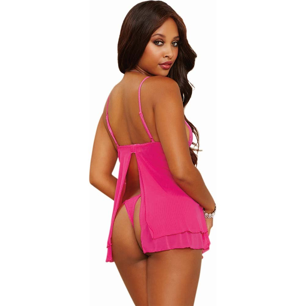 Dreamgirl Lingerie Stretch Lace Mesh Flyaway Back Babydoll and Thong Small Fuchsia - View #2