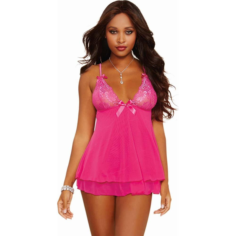 Dreamgirl Lingerie Stretch Lace Mesh Flyaway Back Babydoll and Thong Medium Fuchsia - View #1
