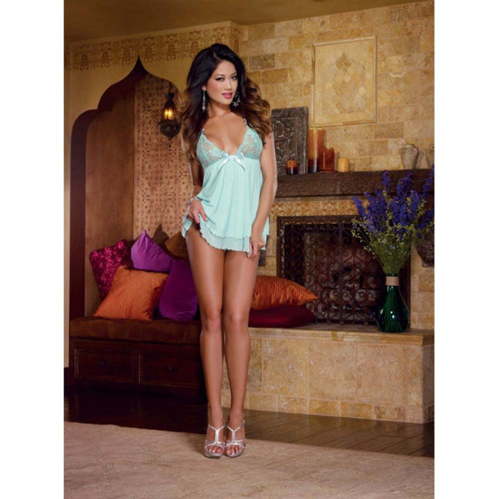 Dreamgirl Lingerie Stretch Lace Mesh Flyaway Back Babydoll and Thong Small Aqua - View #3
