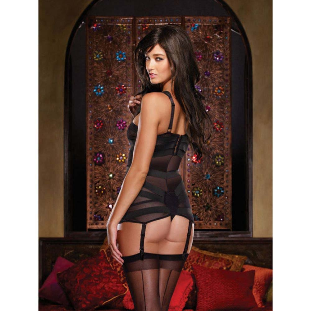 Dreamgirl Lingerie Stretch Mesh Spandex Elastic Teddyand Garters Medium Black - View #4
