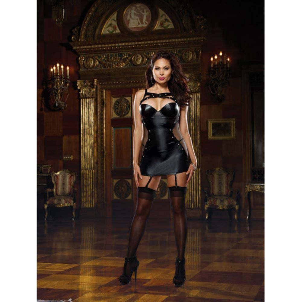 Dreamgirl Stretch Microfiber and Fishnet Studded Garter Slip and Thong 3X/4X Black - View #3