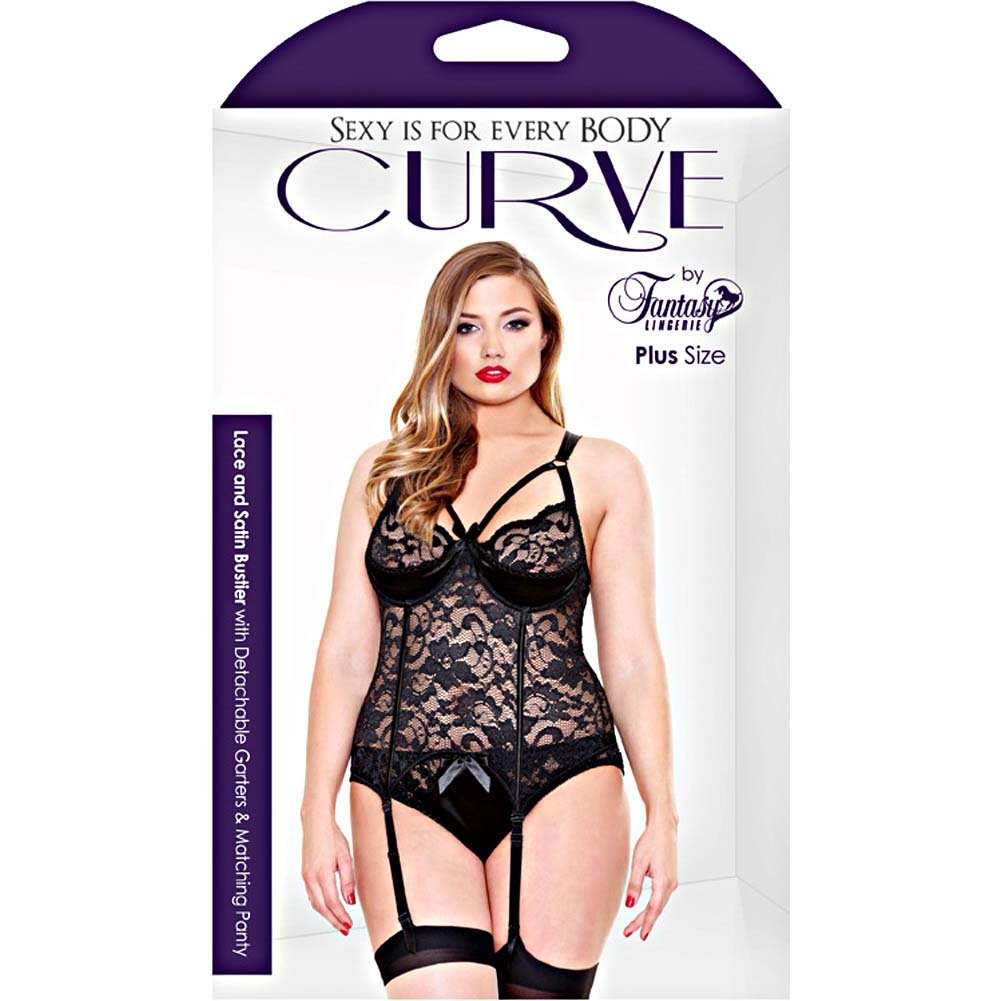 Fantasy Lingerie Curve Bustier with Garters and Panty 1X/2X Black - View #3