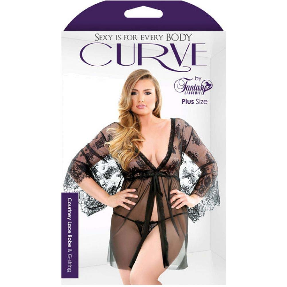 Fantasy Lingerie Curve Courtney Lace Robe and G-String 1X/2X Black - View #3