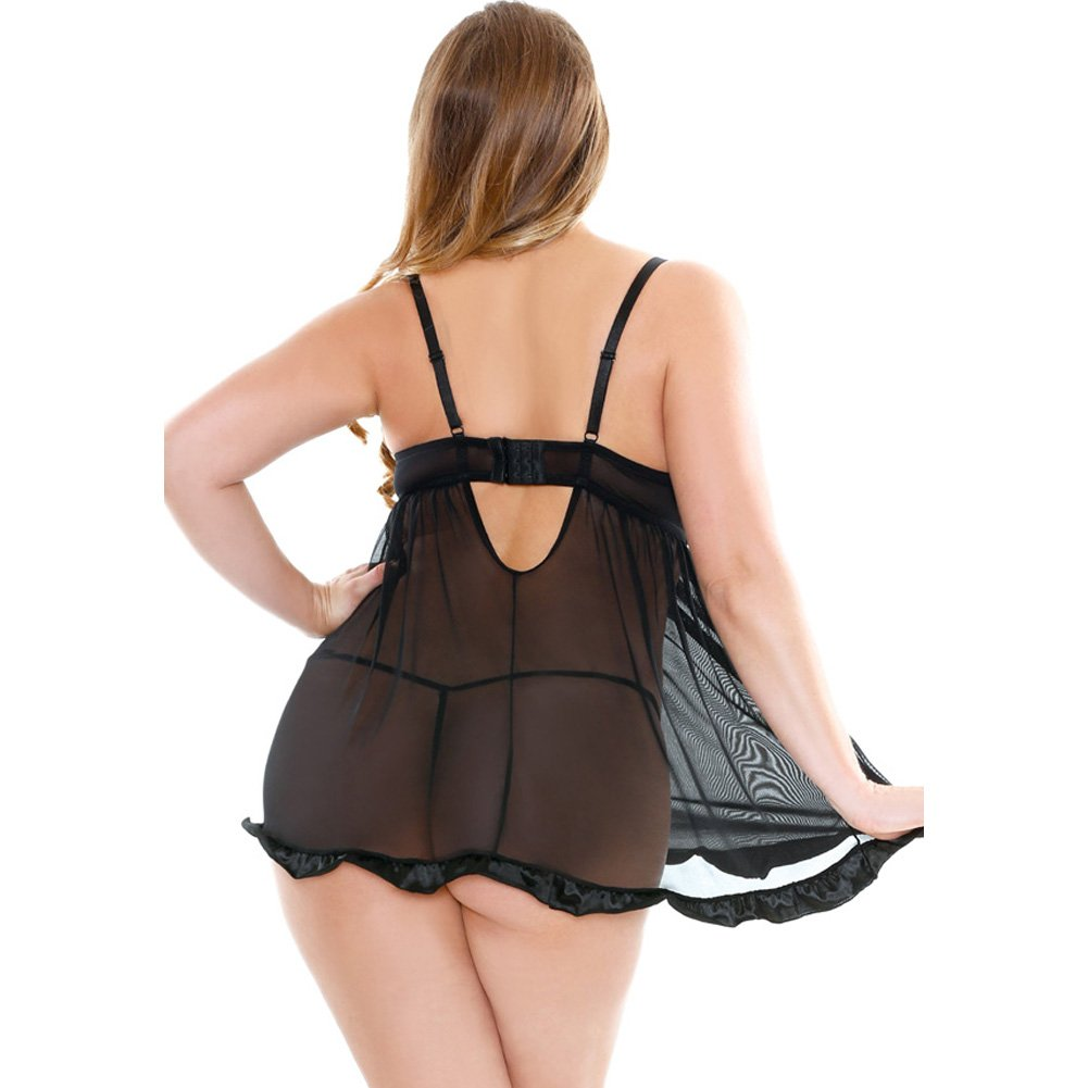 Fantasy Lingerie Curve Shirred Cup Babydoll with G-String 3X/4X Black - View #2