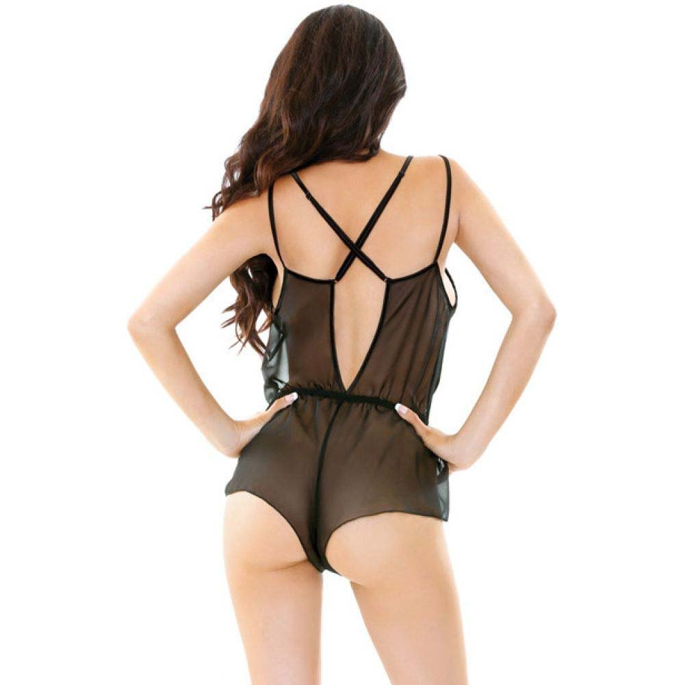 Fantasy Lingerie Romp Sheer Chiffon Romper with Plunging Neckline Medium/Large Black - View #3