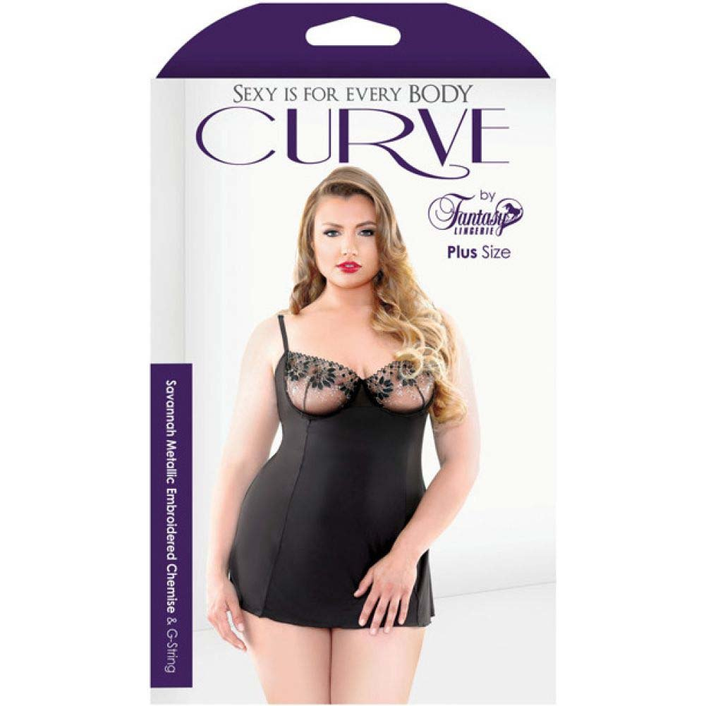 Fantasy Lingerie Curve Savannah Metallic Embroidered Chemise and G-String 3X/4X Black - View #3