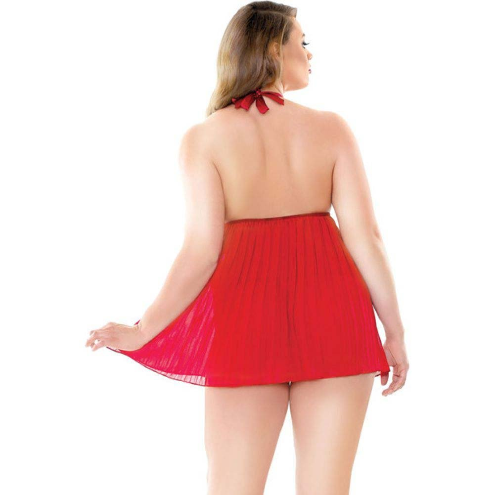 Fantasy Lingerie Curve Valerie Pleated Babydoll with G-String 1X/2X Red - View #2