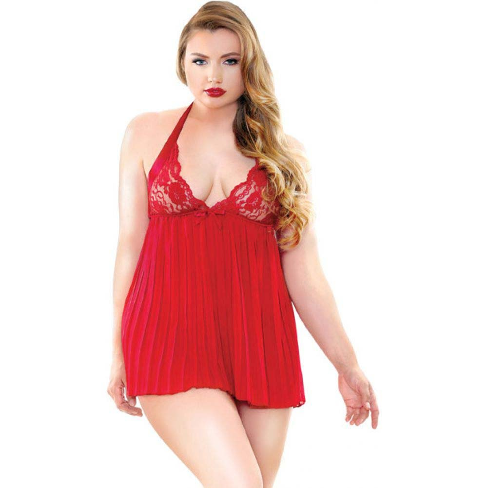 Fantasy Lingerie Curve Valerie Pleated Babydoll and G-String 3X/4X Red - View #1