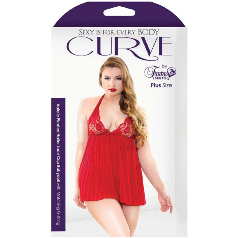 Fantasy Lingerie Curve Valerie Pleated Babydoll and G-String 3X/4X Red - View #3