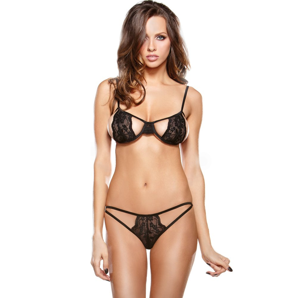 Fantasy LingerieTease Stretch Lace Bra and Cut Out Panty One Size Black - View #1