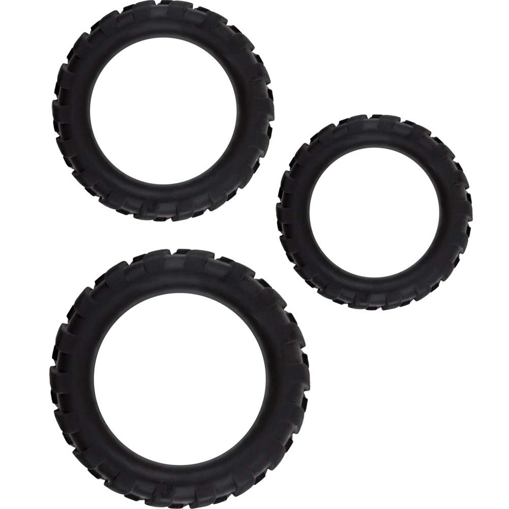 NS Novelties Renegade Endurance Rings Silicone Cockrings Black Set of 3 - View #2