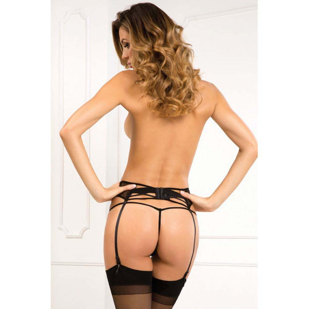 Rene Rofe Lace Criss Cross Garter Medium/Large Black - View #2