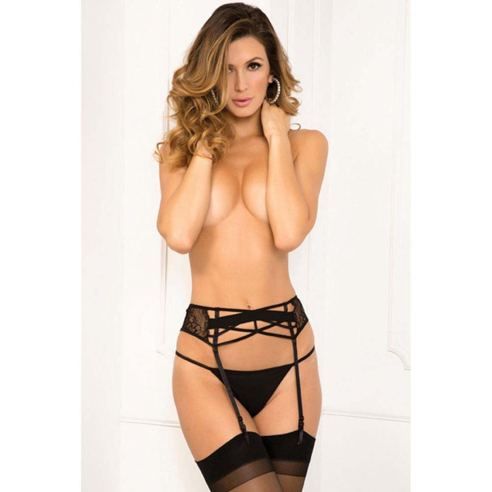 Rene Rofe Lace Criss Cross Garter Belt Small/Medium Black - View #1