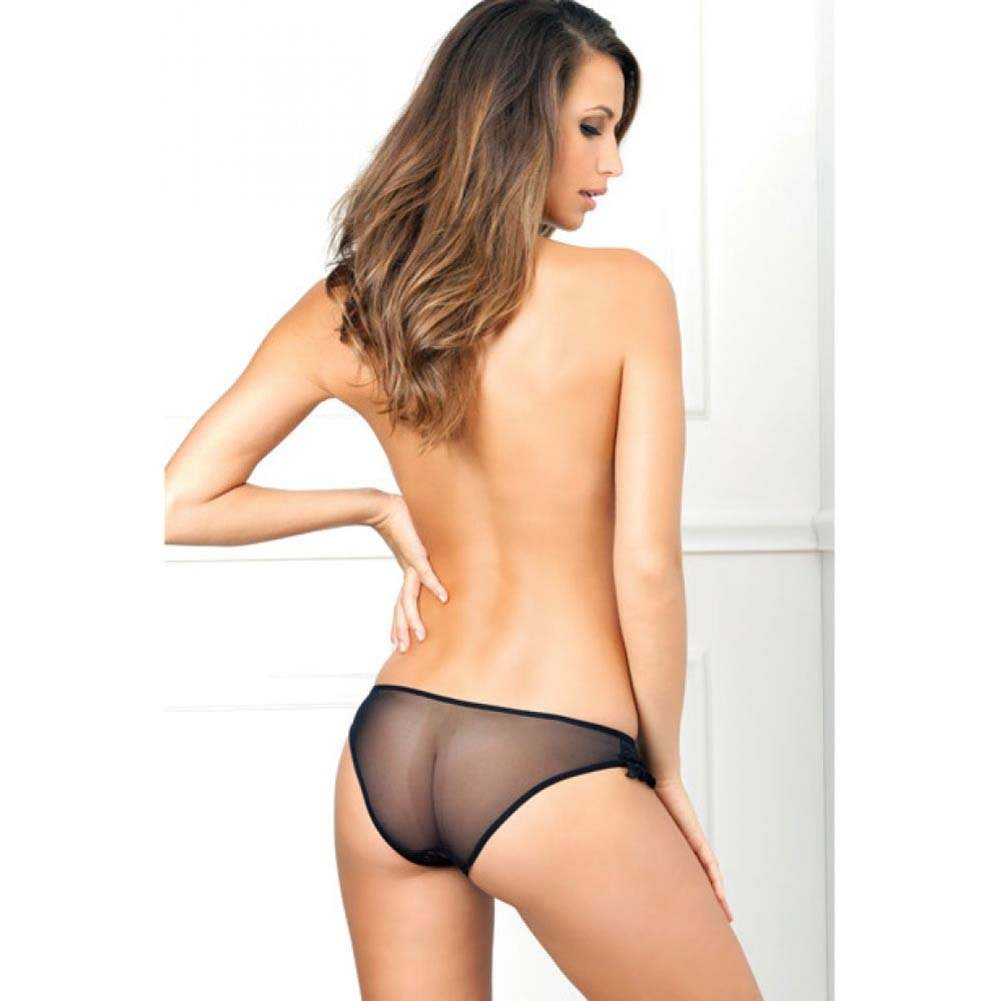 Rene Rofe Crotchless Floral Lace Ruffle Panty Medium/Large Black - View #4