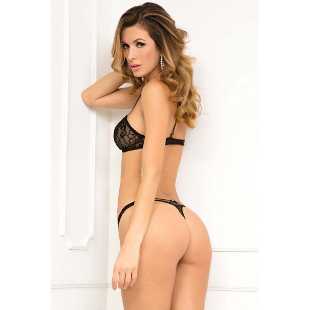 Rene Rofe 2 Piece Strapped in Bra and Thong Set Medium/Large Black - View #2