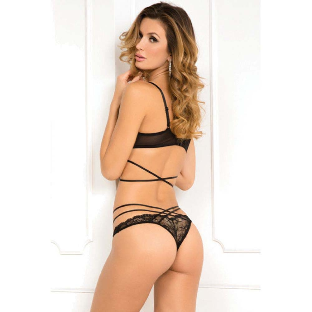 Rene Rofe 2 Piece Soth Bondage Bra and Panty Set Medium/Large Black - View #2