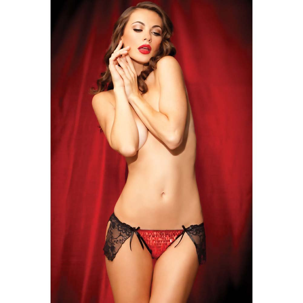 Show Girl Skirted Split Side G-String with Satin Bows and Tassel Sequins Medium Red - View #3