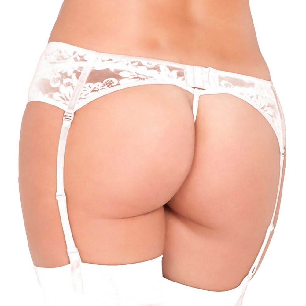 Rene Rofe Lace Garter Belt Small/Medium White - View #2