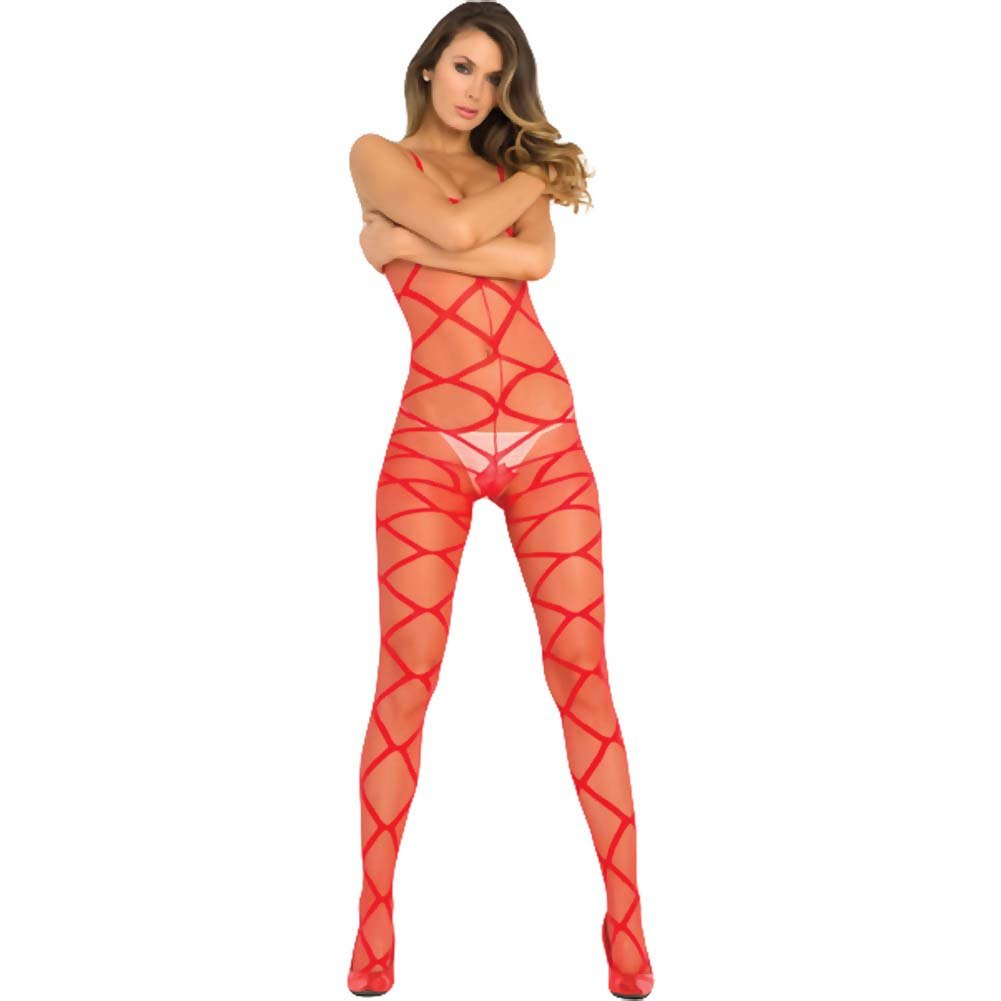 Rene Rofe Strapped Up Sheer Bodystocking One Size Red - View #1